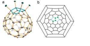 Estructura molecular (a) i diagrama de Schlegel (b) del C72Cl4
