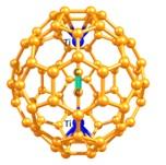 Figura 1. Ful·lerè endoèdric de carbur metàl·lic Ti2C2@C78. La unitat de C2 està marcada de color verd.