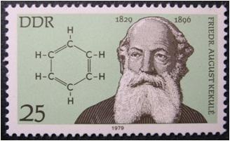 Figura 1. Kekulé en un segell de l'època amb la fórmula del benzè