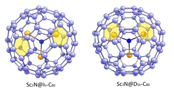 Figura 1. Les dues maneres en que es pot trobar el Sc3N@C80: Sc3N@Ih-C80 i Sc3N@D5h-C80