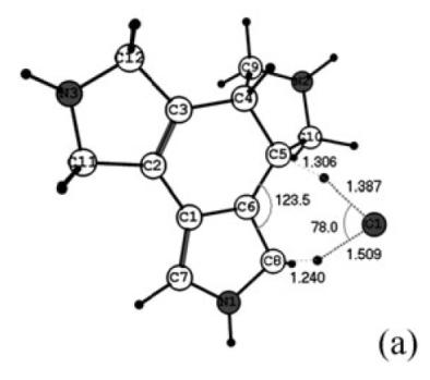 Figura 5. Estat de transició del pas de 5a a 3a en presència d'una molècula d'aigua.
