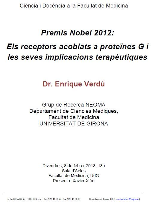Figura 1. Conferència a càrrec del Dr. Verdú a la Facultat de Medicina de la UdG el passat 8 de febrer.