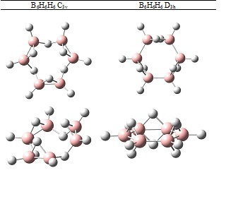 Figura 2. Dos hidrurs de bor anàlegs del benzè.