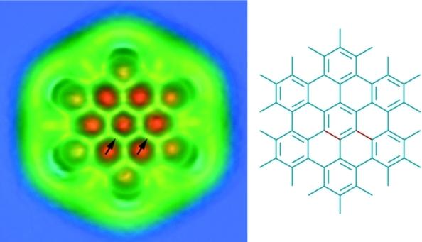 Figura 1. Molècual d'hexabenzocoronè observada a través de microscopi AFM. A la dreta estructura de Lewis de la mateixa molècula.