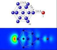 Figura 1. A dalt estructura molecular del Al13I. A baix mapa de densitat electrònica de l'HOMO de la mateixa molècula