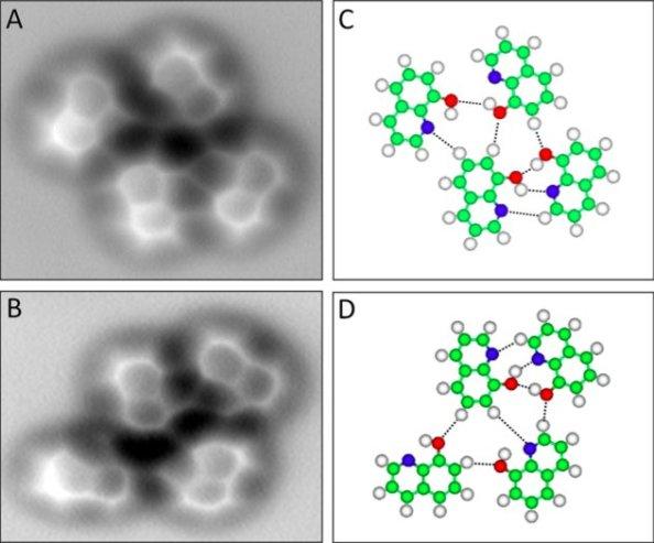 Figura 1. Imatges AFM de molècules 8-hidroxiquinolina sobre una superfície de Cu.