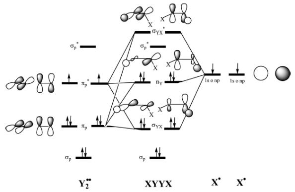 Figura 2. Diagrama d'orbitals moleculars per la formació de XYYX a partir de Y2·· i X·.